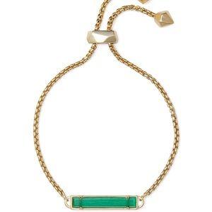 Kendra Scott Stan Chain Bracelet Emeralds Cat Eye!